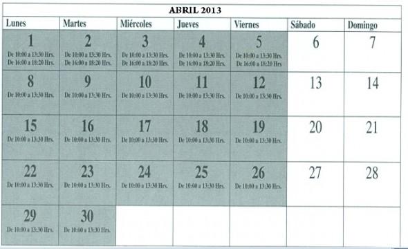 Calendario Atención Servicio Impuestos Internos