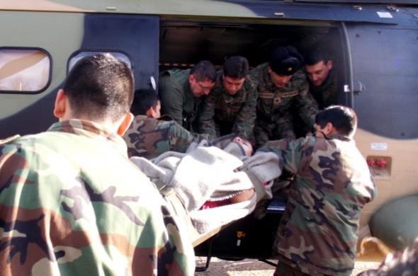 Traslado aereo soldados lesionados