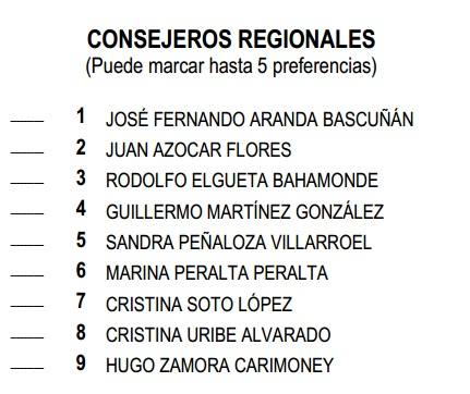 Consejeros Regionales PRSD elecciones